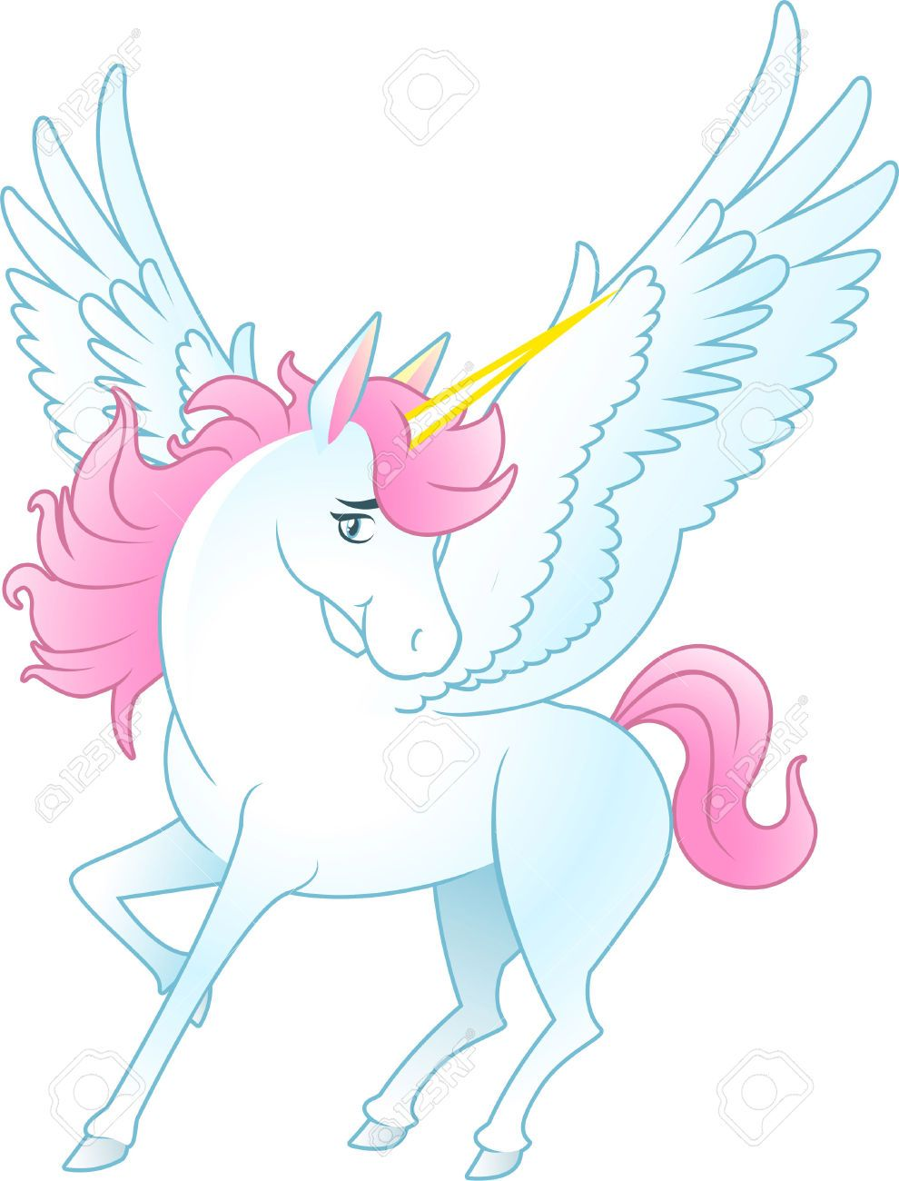 Unicorn Pegasus with opened wings and yellow horn, pink hair and tail vector illustration.