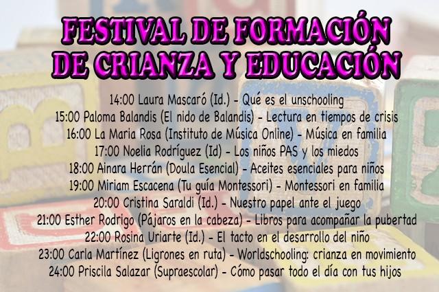 Festival de formación: 10 horas de formación gratuita para amenizar la cuarentena con niños