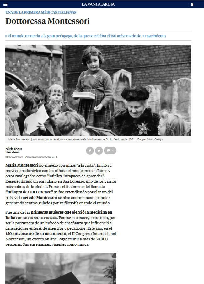 Noticia La Vanguardia Congreso Montessori