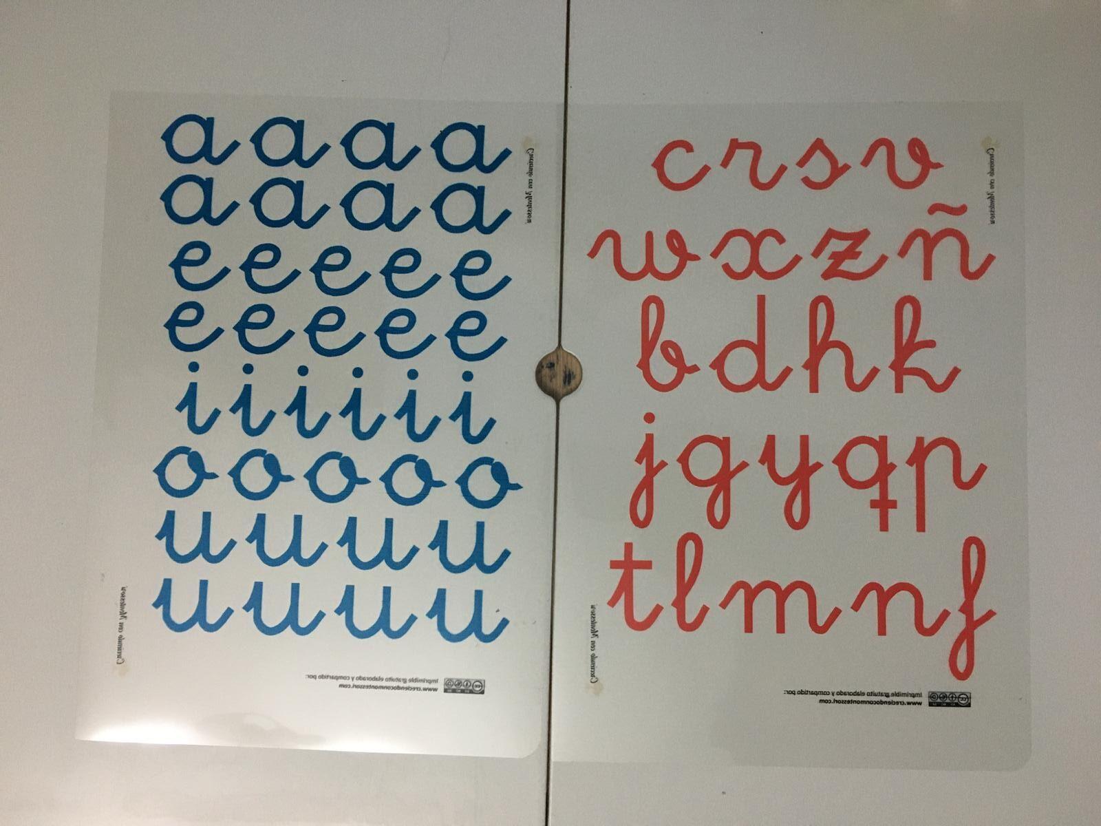 Plantillas descargables para imprimir en papel de acetato y formar tu alfabeto Montessori DIY.